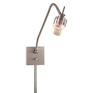 Pierce II Brushed Nickel One-Light Wall Lamp with a Clear and Acid Etched Glass Shade