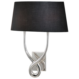 Silver Plated Wall Sconce with Black Shade with White Interior