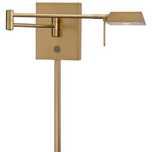 Honey Gold LED Swing Arm Wall Lamp w/Steel Shade