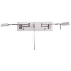 Brushed Nickel Two Light LED Swing Arm wall Lamp