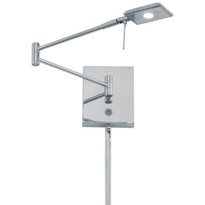 Chrome LED Swing Arm Wall Lamp w/Steel Shade