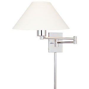 Boring Chrome Swing Arm Wall Sconce with Stretched Oyster Linen Shade