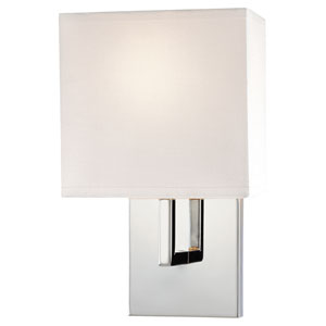 Chrome One-Light Sconce with White Fabric Shade
