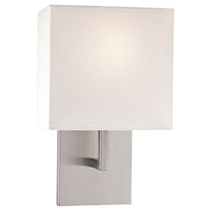 Sconces Brushed Nickel One-Light Wall Sconce with White Fabric Shade