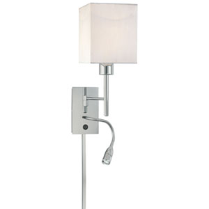 George Reading Room Chrome Two-Light Wall Sconce with Adjustable Reading Light and White Fabric Shade