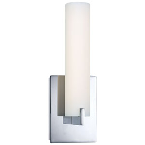 Tube Chrome LED Wall Sconce w/Etched Opal Glass
