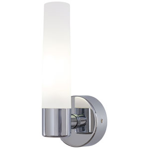 Bath Art Chrome One-Light Bath with Case Etched Opal Glass