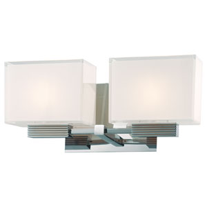 Cubism Chrome Two-Light Bath Fixture