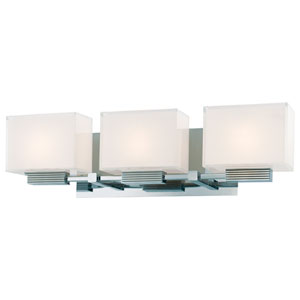 Cubism Chrome Three-Light Bath Fixture