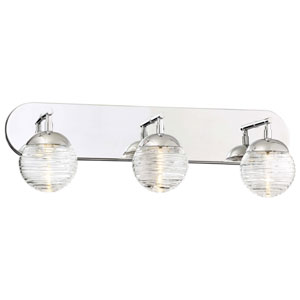 Vemo Polished Nickel Three-Light LED Bath Light