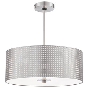 Grid Brushed Nickel Three-Light Pendant