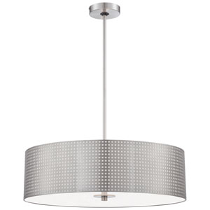 Grid Brushed Nickel Four-Light Pendant