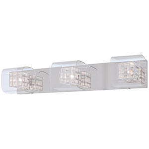 Jewel Box Chrome Three-Light Bath Fixture