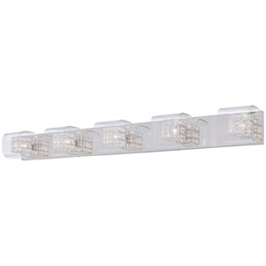 Jewel Box Chrome Five-Light Bath Fixture