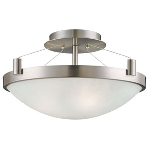 Pendants Brushed Nickel Three-Light Semi Flush with Frosted White Glass Shade