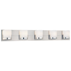 Convex Polished Chrome Five-Light Bath Fixture