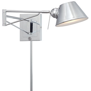Chrome One-Light LED Swing Arm Lamp