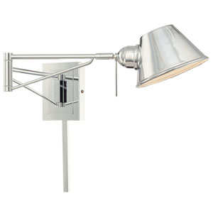 George Reading Room Chrome Swing Arm Wall Sconce with Metal Shade