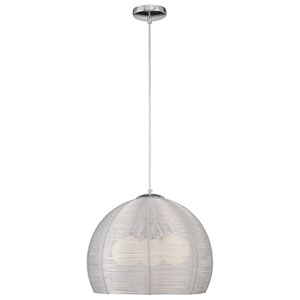 Families Chrome Three-Light Pendant with Anodized Aluminum Shade