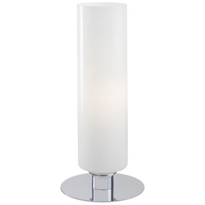 Chrome Accent Lamp with White Cased Glass