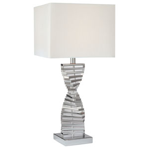 Chrome Table Lamp with Eidolon Krystal Glass and White Fabric Shade