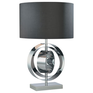 Chrome Table Lamp with Black Fabric Shade