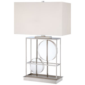Polished Nickel Two-Light Table Lamp w/White Fabric Shade