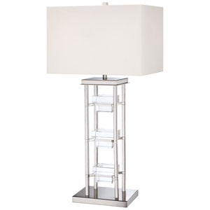 Polished Nickel Two-Light Table Lamp w/White Fabric Shade/Seeded Crystal
