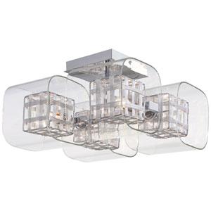 Jewel Box Chrome Four-Light Semi Flush