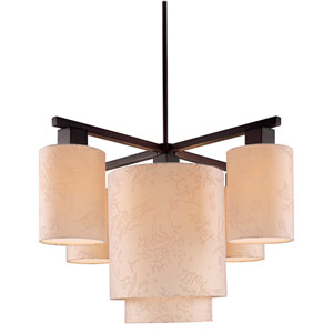 Kimono Five-Light Chandelier- Antique Bronze