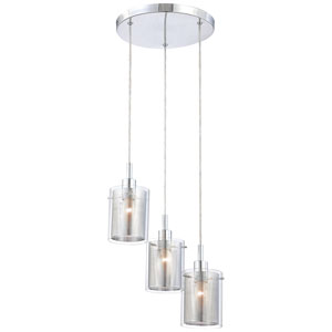 Grid II Chrome Three-Light Staggered Pendant
