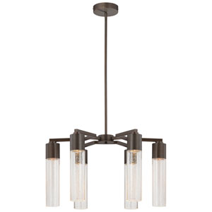 Light Rain Copper Bronze Patina Six-Light Chandelier