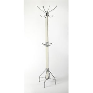 Logan White and Silver Coat Rack