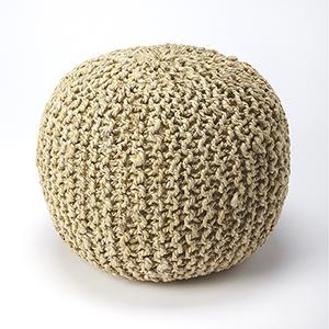 Pincushion Beige Woollen Woven Round Pouf