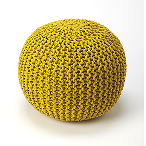 Pincushion Yellow Woollen Woven Round Pouf