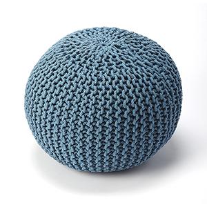 Pincushion Blue Woollen Woven Round Pouf