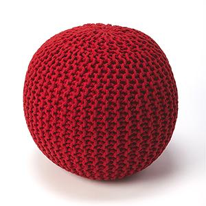 Pincushion Red Woollen Woven Round Pouf