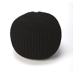 Pincushion Black Woollen Woven Round Pouf