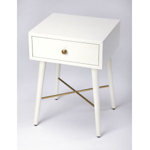Delridge White and Gold End Table