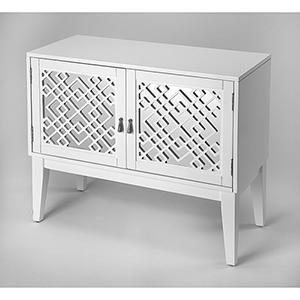 Cosmopolitan Glossy White Ursula Mirrored Console Cabinet