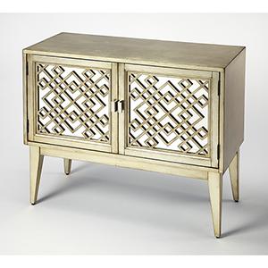 Cosmopolitan Silver Leaf Ursula Mirrored Console Cabinet