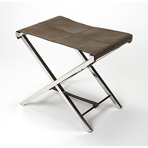 Butler Loft Silver Matteo Leather and Metal Folding Stool