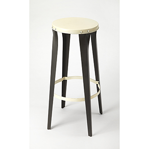 Industrial Chic Black and White Ulrich Backless Bar Stool