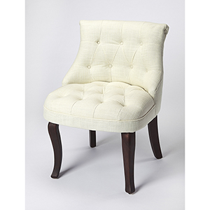 Beige and Cherry Mona Linen Slipper Chair