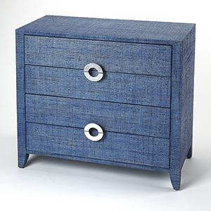 Butler Loft Navy Raffia Amelle Accent Chest