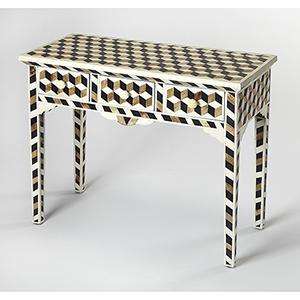 Bone Inlay Black Lamar Wood Console Table