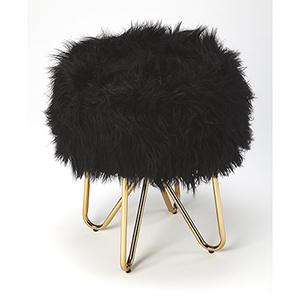 Loft Polished Gold Ezra Faux Fur Stool