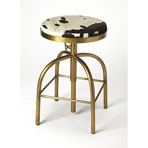 Industrial Chic Multicolor Grogan Hair-On-Hide Barstool