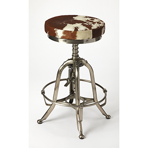 Industrial Chic Multicolor Donovan Hair-On-Hide Barstool