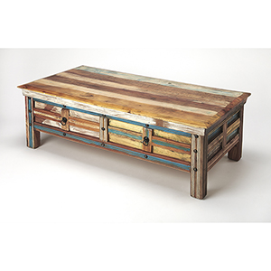 Artifacts Multicolor Reverb Painted Rustic Coffee Table